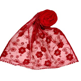 Digital Flower Printed Hijab For Women - Red
