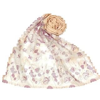 Digital Flower Printed Hijab For Women - Cream