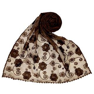Digital Flower Printed Hijab For Women - Brown