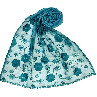 Digital Flower Printed Hijab For Women - Green