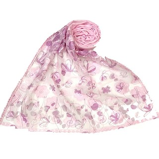 Digital Flower Printed Hijab For Women - Pink