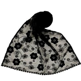 Digital Flower Printed Hijab For Women - Black