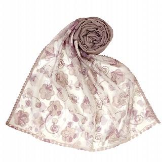 Digital Flower Printed Hijab For Women - Purple
