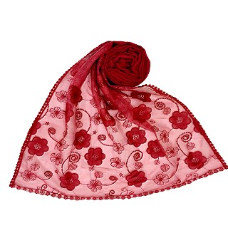Digital Flower Printed Hijab For Women - Maroon
