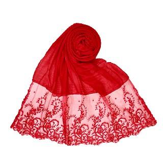 Premium Designer Flower Printed Stole - Red
