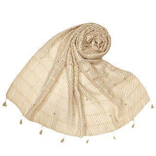 Cotton Box Checkered Fringe's Stole - Light Brown
