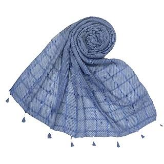 Cotton Box Checkered Fringe's Stole - Blue