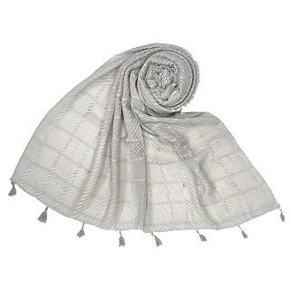 Cotton Box Checkered Fringe's Stole - Grey