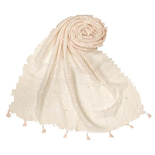 Cotton Box Checkered Fringe's Stole - Cream