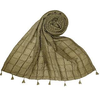 Cotton Box Checkered Fringe's Stole - Green