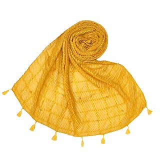 Cotton Box Checkered Fringe's Stole - Yellow