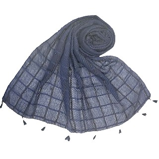 Cotton Box Checkered Fringe's Stole - Navy Blue