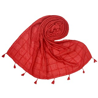 Cotton Box Checkered Fringe's Stole - Red