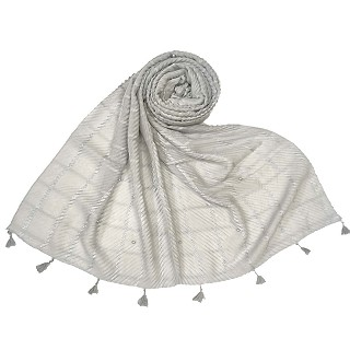 Cotton Box Checkered Fringe's Stole - Silver