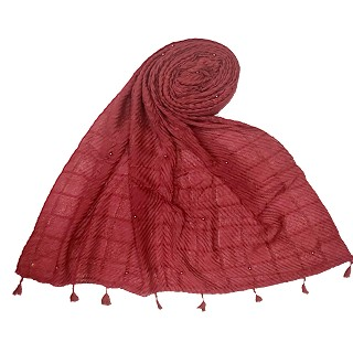 Cotton Box Checkered Fringe's Stole - Maroon