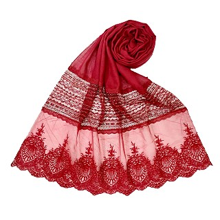 Rich Cotton - Designer Diamond Work Hijab - Maroon