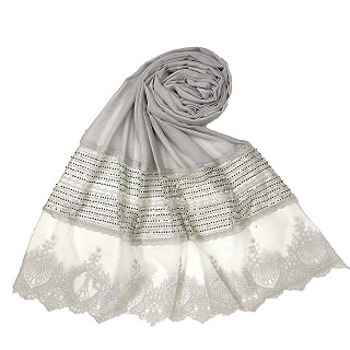 Rich Cotton - Designer Diamond Work Hijab - Grey