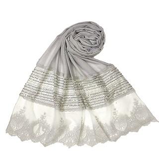 Rich Cotton - Designer Diamond Work Hijab - Grey