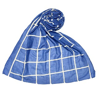 Premium Cotton Grid Hijab - Blue
