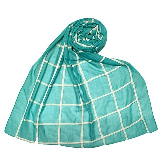 Premium Cotton Grid Hijab - Green