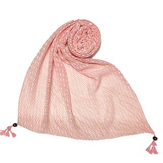 Premium Cotton Hand Work Thread Hijab - Light Pink