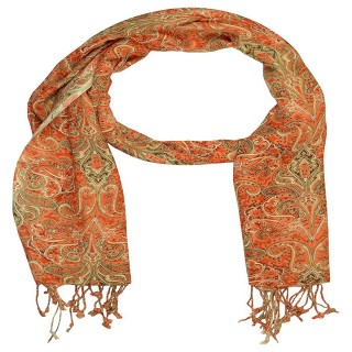 Premium Rayon  Printed Stole- Orange
