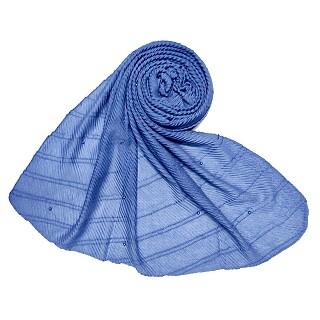Premium Cotton Crush Designer Diamond Studded  Stole - Blue