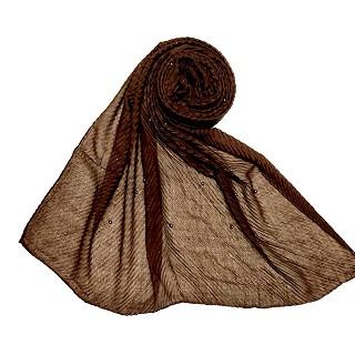 Premium Cotton Crush Designer Diamond Studded  Stole - Brown