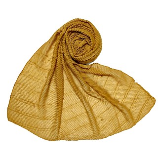 Premium Cotton Crush Designer Diamond Studded  Stole - Yellow
