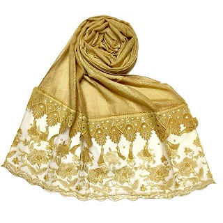 Premium Cotton - Double Bordered Fringe's Hijab - Yellow