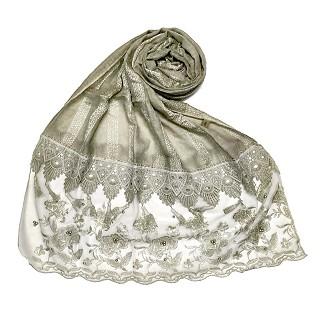 Premium Cotton - Double Bordered Fringe's Hijab - Olive
