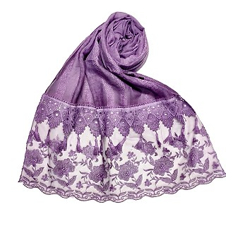 Premium Cotton - Double Bordered Fringe's Hijab - Purple