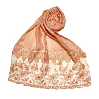Premium Cotton - Double Bordered Fringe's Hijab - Orange