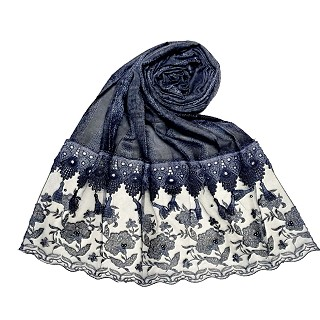 Premium cotton double bordered fringe's hijab - Dark Blue