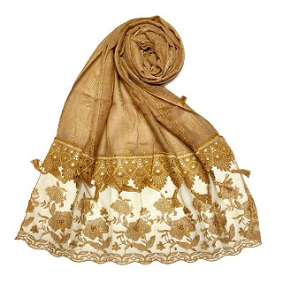 Premium cotton double bordered fringe's hijab - Light Brown