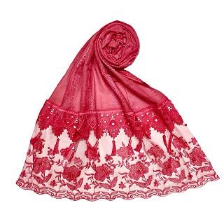 Premium Cotton double bordered fringe's hijab - Red