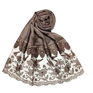 Premium cotton double bordered fringe's hijab - Brown