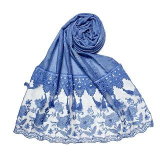 Premium cotton double bordered fringe's hijab - Blue