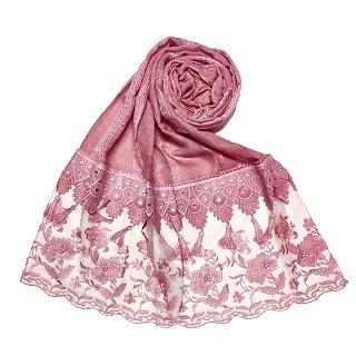 Premium cotton double bordered fringe's hijab - Pink
