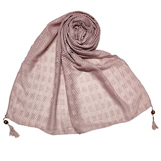 Designer cotton puff checkered stole - Purple