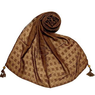 Designer cotton puff checkered stole - Brown