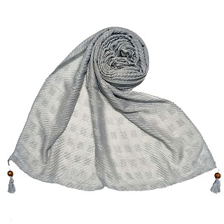 Designer cotton puff checkered stole - Blue