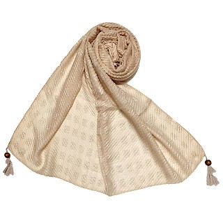 Designer cotton puff checkered stole - Light Brown