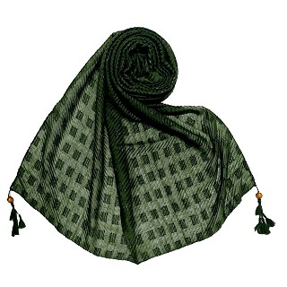Designer cotton puff checkered stole - Green