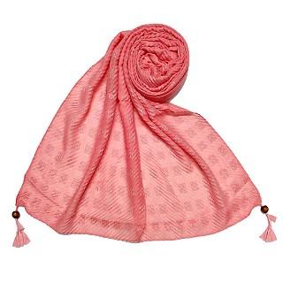 Designer cotton puff checkered stole - Pink