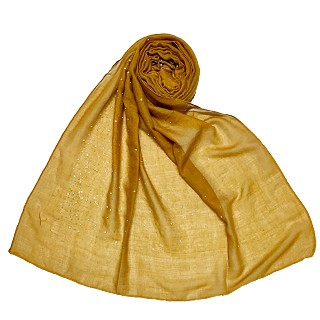 Cotton dew dew drop diamond studded all over stole - Yellow