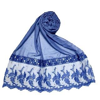 Premium Cotton - Designer Bordered Hijab -Blue