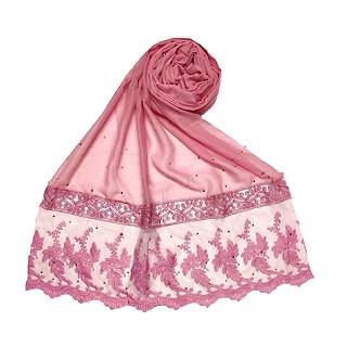 Premium Cotton - Designer Bordered Hijab -Pink
