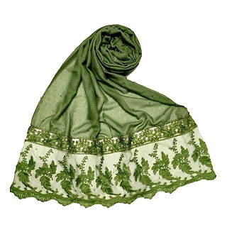 Premium Cotton - Designer Bordered Hijab -Green