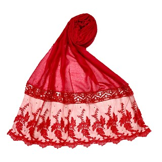 Premium cotton - designer bordered hijab - Red